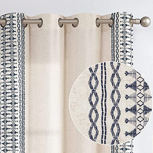 Lazzzy Linen Curtains Bordered Boho Curtain Embroidered Drapes Light Filtering Privacy Window Treatment Set for Living Room Bedroom Grommet Top 2 Panels 84 Inch Length Blue on Beige