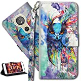 HMTECH Moto G5S Plus Funda Elegante retro Búho colorido patrón PU Leather Wallet con Business Card Holder Stand Function Case para Motorola Moto G5S Plus,Colorful Owl YX