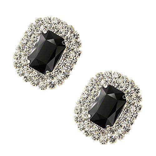Tooky - Juego de dos broches de gemas y cristales para zapatos, extraíbles negro negro