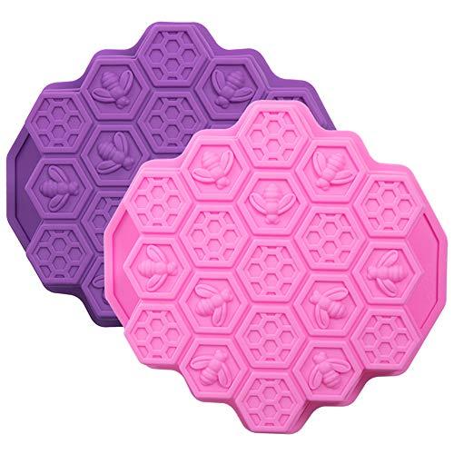 WANDIC Soap Silicone Mold, 2 Stks Bee Honingraat Zeep Silicone Mold, Zelfgemaakte Sope Maken Mold Supplies voor DIY Zeep Maken Crafting Projects, Rood & Paars