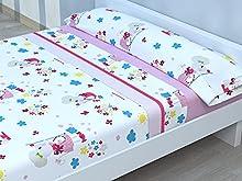 Juego de sábanas Infantiles de Microfibra Transpirable Mod. Ratoncita (Cama de 90 cm (90_x_190/200 cm))