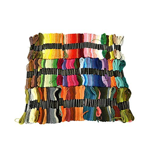 FiedFikt Premium Regenboog Kleur Borduurwerk Floss, Cross Stitch Threads, Vriendschap Armbanden Floss Crafts Floss Multi kleuren Skeins per pak, geweldig cadeau voor handwerk, moeder, vriend