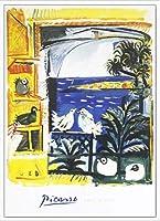 ポスター パブロ ピカソ The Pigeons 額装品 アルミ製ハイグレードフレーム(ホワイト)