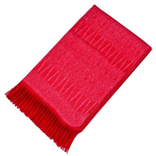 GreatestPAK Damen Schal Borsten Quaste Warm 100% Cashmere Schal Schal,rot