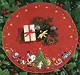 Bucilla 1993 Santa & Toys Jeweled Felt Applique Christmas Tree Skirt