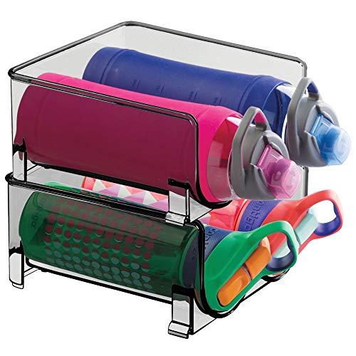 mDesign Plastic Freestanding Water Bottle Storage Organizer for Kitchen Countertop, Table, Pantry, Fridge - Holds Water Bottles, Pop/Soda, Wine, Beer - Stackable, 2 Bottles Each, 2 Pack - Smoke Gray