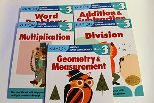 Kumon Grade 3 Math Workbooks (5 Books) - Addition & Subtraction, Multiplication, Division, Geometry & Measurement and Word Problem