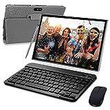 Tablet 10 Pulgadas 3 GB RAM 32GB/128GB ROM Android 9.0 Certificación Google GMS Ultrar-Rápido Tablets 4G LTE Dual SIM/WiFi 8000mAh Quad Core/GPS, Bluetooth, OTG, Netfilix/ - con Teclado (Gris)