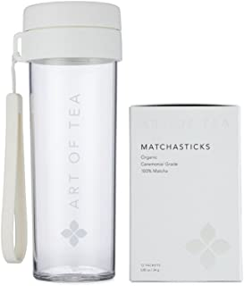 Matcha Powder Organic Japanese Ceremonial matchasticks - Art of Tea - 12 count single serve packets and Matcha shaker bottle.
