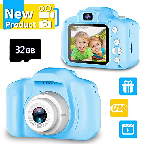 Seckton Upgrade Kids Selfie Camera, Best Birthday Gifts for Boys Age 3-9, HD Digital Video Cameras for Toddler, Portable Toy for 3 4 5 6 7 8 Year Old Boy with 32GB SD Card-Blue