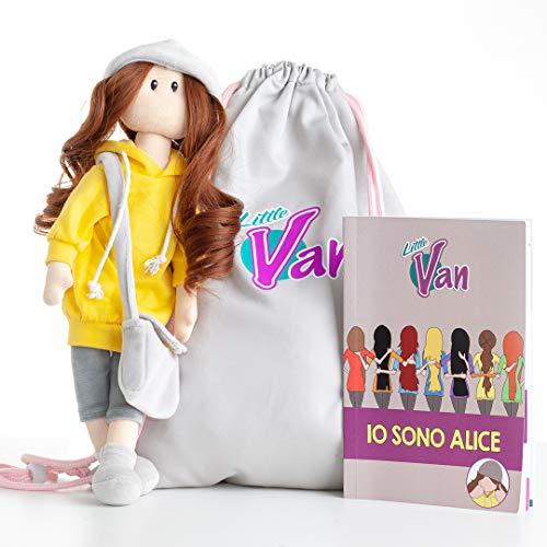 LittleVan Alice - Bambola in Stoffa, Bambola per Bambina, Sacca in Stoffa, Libro di Presentazione