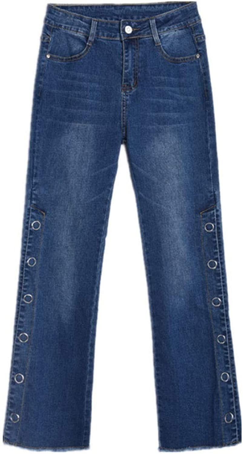 Jeans Woman bluee Raw Rivets MidWaist Stretch Wide Slit Wide Leg Flared Pants (color   bluee, Size   27)