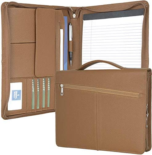 Leather Organizer Portfolio with Handle Zipper Business Padfolio with Notepad Holder Ideal for product image