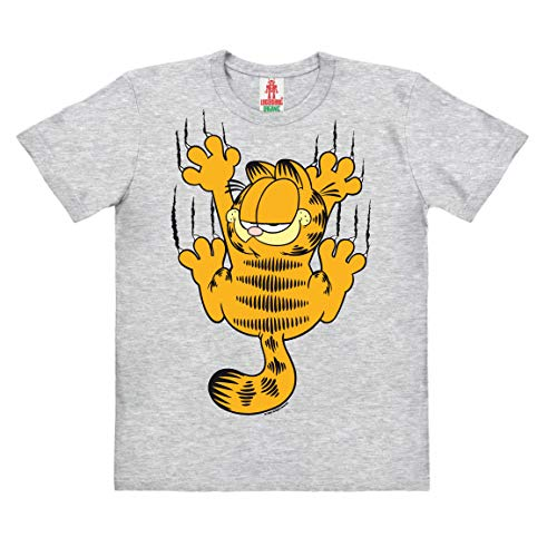 Logoshirt - Comics - Kater - Garfield - Kratzen - Kinder Bio - Organic T-Shirt - grau-meliert - Lizenziertes Originaldesign, Größe 140