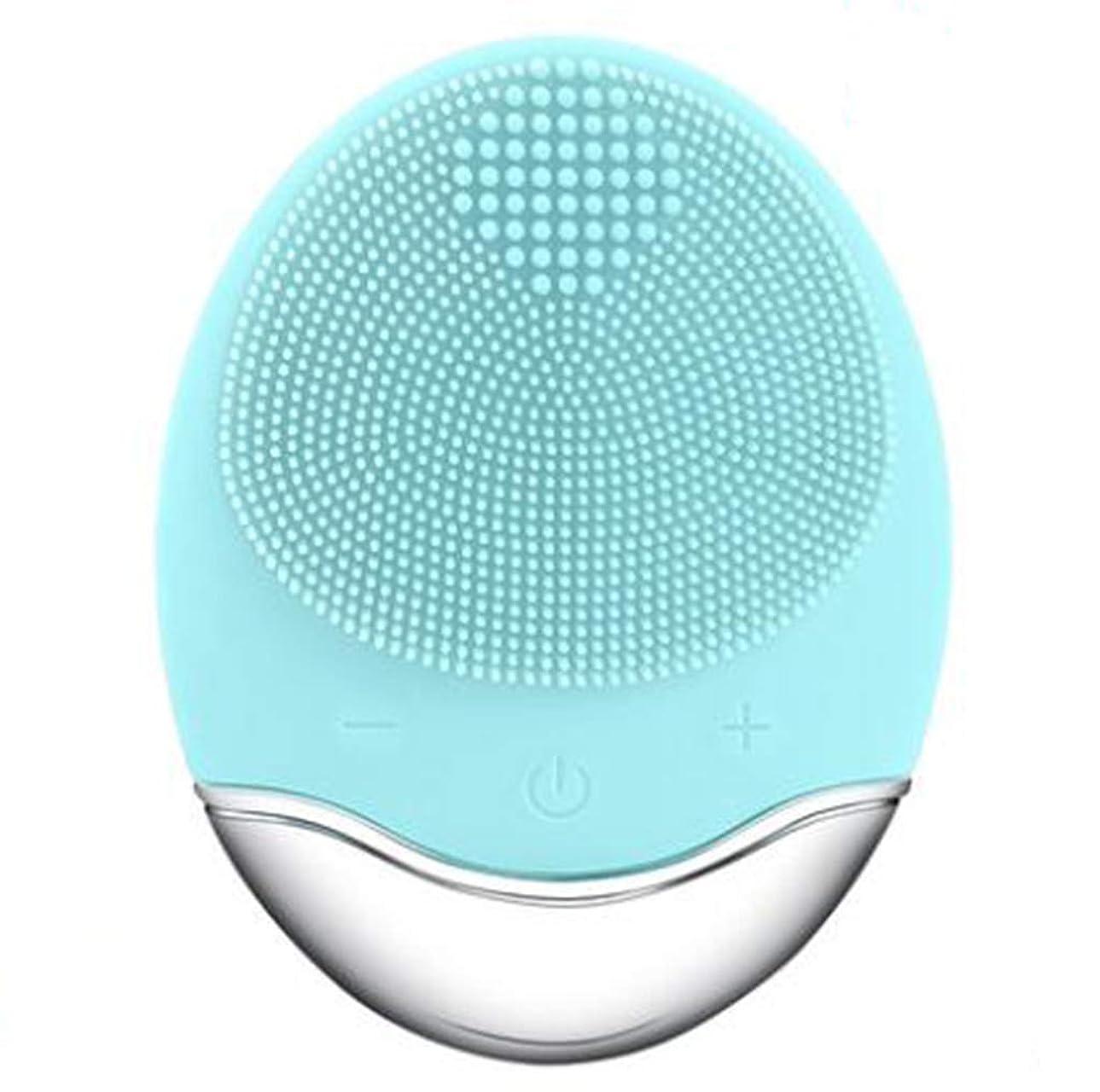 ラブ調整デュアルシリコーン電気クレンジング器具、洗顔毛穴クリーナーマッサージフェイス、イントロデューサー + クレンジング器具 (1 つ2個),Green