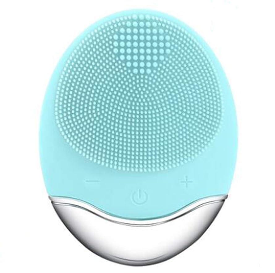 シリコーン電気クレンジング器具、洗顔毛穴クリーナーマッサージフェイス、イントロデューサー + クレンジング器具 (1 つ2個),Green