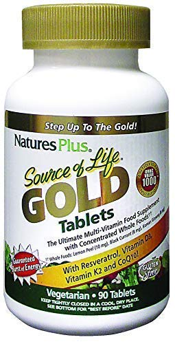 NaturesPlus Source of Life Gold - All Natural Whole Food Multivitamin, Complete Daily Vitamin Profile, Energy Booster, Immune Support - Gluten Free (90 tabs)
