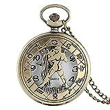 NC188 Bronce 12 Constelaciones Acuario Mujeres Reloj de Bolsillo Cuarzo Medio Cazador Hombres Fob Relojes Cobre Reloj Moderno Collar