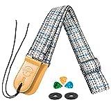 Guitar strap for Bass Acoustic Electric Vantage Plaid Microfiber Leather Top(Lattice black)