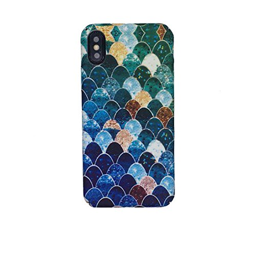 Lovely Blue Mermaid Fish Scale Hard PC Protective Back Cover Case for iPhone 6 6s 7 Plus 8 8 Plus