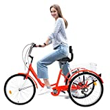 WSSW New Tricycle Bike 1/7 Speed 3-Wheel for Shopping W/Installation Tools Three-Wheeled Bicycle for Men and Women (Red)