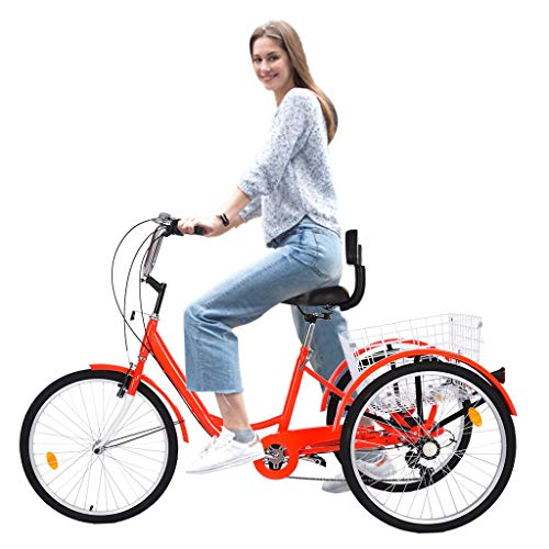 Adult Mountain Tricycle 24-Inch 7 Speed Three Wheel Cruiser Trike Bike with Front Suspension Fork Front Disc Brake MTB Bicycle Low-Step Through Frame/Large Basket for Men/Women - Up to 330 lbs