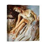 DìMò ART Quadro Stampa su Tela con Telaio in Legno di Scenza Ron Woman Primavera Misura 50x40 CM