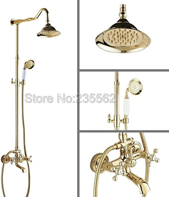 Luxurious shower Wall Mount Dual Griff 7  Zoll Niederschlag Badezimmer Dusche Wasserhahn Farbe Gold Finish lgf 615, Golden