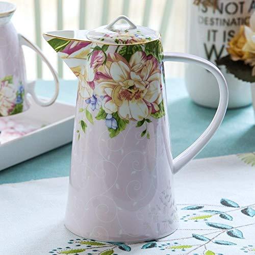 Gancunsh 1200ML, tetera de porcelana, hervidor de té floral, jarra de agua vintage, jarra de cocina, jarra de zumo de café, tetera