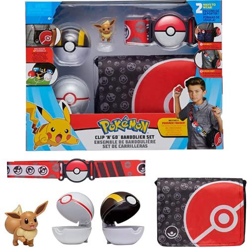 Pokemon Cinturon Set Bandolier Eevee & Bolas Pokemon – Incluye 1x 5 cm Pokemon Figura, 1x Bolsa de Pokemon, 1x Cinturón & 2 x Pokeballs – Licencia Oficial Juguetes Pokemon