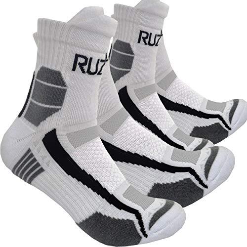 RUZER 2 x (4 piezas) pares de deportes gimnasio correr ciclismo fútbol calcetines protección Coolmax ventilación anti sudor anti ampolla acolchado anti sudor