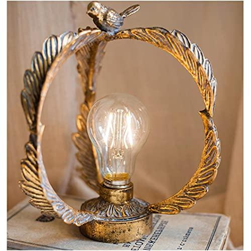 noyydh Oiseau Nuit de Nuit,éclairage de Jardin extérieur,Petite Lampe de Table,décorations de Fer forgé rétro,décorations de Table de Table,22x19cm