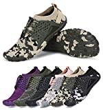 AMOCOCO Men's Women's Minimalist Trail Running Barefoot Shoes Wide Toe Box Quick Drying Beach Sneakers Black Army Green, 10.5 Women/9 Men