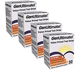 Genultimate Blood Glucose Test Strips for Use with One Touch Ultra, Ultra 2 and Ultra Mini Meter, 200 ct Strips (2 boxes of 100)