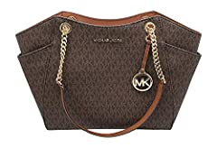 """Size Approximate Measurements: 11""""-14"""" L x 10.5"""" H x 4.5"""" D MK signature & Leather Double handles w/ leather & chains. Top zip closure MK Strap Logo, detail on front Exterior side pockets. Interior: 1 zippered pocket & 2 slip pockets Michael Kors sig..."""