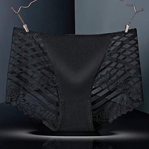 Heliansheng Bragas de Cintura Media sin Costuras de Encaje Sexy de algodón elástico Alto para Mujer, Bragas Huecas Florales -04-XXL-C1304