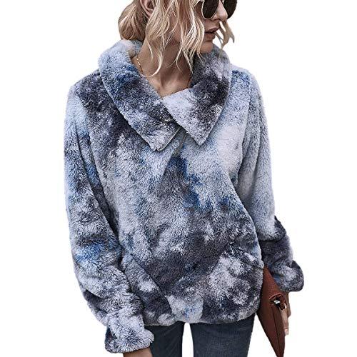 LIVACASA Sweatshirt Damen Winter Warm Hoodie Weich Mädchen Oversized Teddy Fleece Pullover Flauschig Winterpullover Sweater Langarm Pulli mit 2 Tasche Tiedye blau L