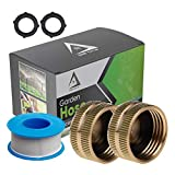 """DBR Tech Brass Garden Hose End Caps, 2 Pack, Leak Resistant Female Connector with ¾"""" NH, Precision Fitted Threading"""