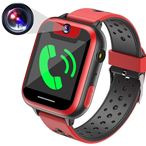 Juego Smartwatch,Juego de Niños Reloj Inteligente Teléfono Celular para Niños Niñas Fiestas Regalos de Cumpleaños Reloj de Pulsera Ranura Tarjeta SIM SOS Llamada Juguetes (Negro * Rojo)