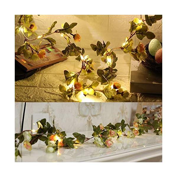 Guirnaldas luminosa 2.2 m 25 led Cadena de luces del Flores Artificial del Tela Lampara luz con Flash Iluminación…
