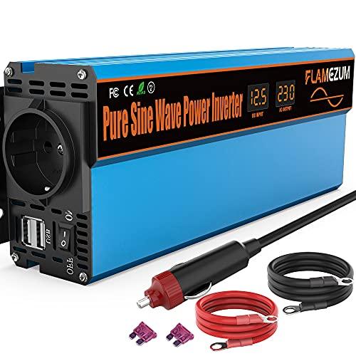 Inversor de corriente sinusoidal pura para coche, 1000 W, 12 V a 230 V, con 1 enchufe europeo y 2 puertos USB, para encendedor de coche, potencia máxima de 2000 W