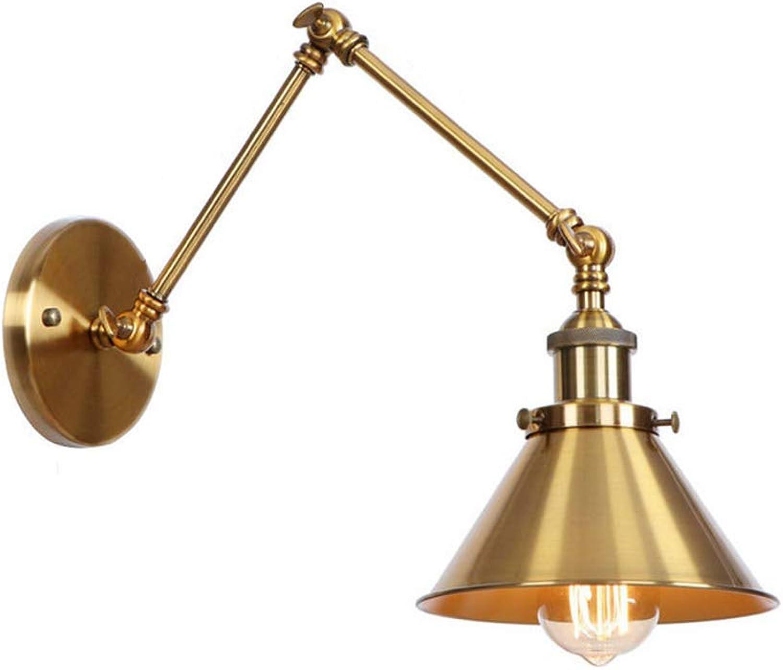 LED Industrial Design Wandleuchte Vintage Metall Edison Wandlampe Einziehbare mit Lange Arm Nachttischlampe Leselicht,E27 1-flammig Flur Schlafzimmer Wohnzimmer Bad Esszimmer Landhaus Lampe (Gold 1)