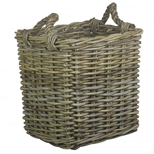 Wicker Warehouse Small Square Grey Kubu Rattan Log Basket