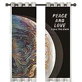 Beydodo Cortinas Poliester Habitacion Cortinas Salon 2 Piezas Planeta con Letra Peace y Love I Love This Earth Colorido Cortinas 274x214CM