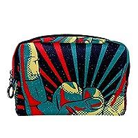 化粧トイレタリーバッグ 巾着化粧鞄, ロックロールサインパターンで手