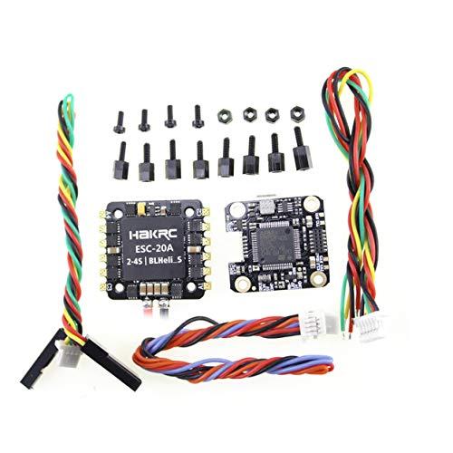 LoveOlvido Controlador de Vuelo HAKRC Mini F4 Flytower OSD Integrado 4 en 1 BLHeli 20A ESC Salida incorporada de 5V 2A BEC para FPV RC Drone - Negro