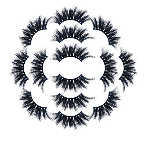 IYU_Dsgirh Faux cils épais 8D, luxe 7Paire 8D faux cils cils duveteux bande longue partie naturelle maquillage cils (NOIR)