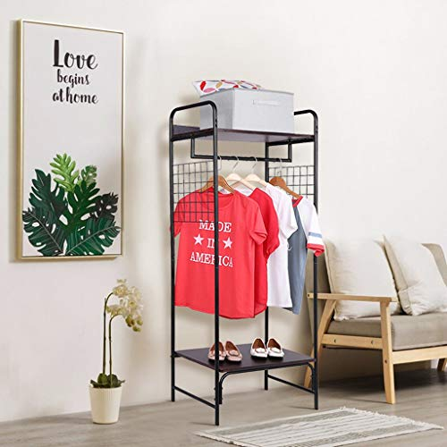 Garment Rack with Hanger Rod and Double Shelves, Heavy Duty Metal Clothes Storage Rack Organizer for Bedroom Entryway (Black, 60.8x25.2x15.2inch)