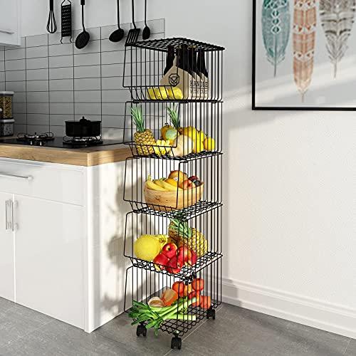 Mocosy 5 Niveles Cestas de Frutas y Verduras de Metal con Ruedas Organizador Apilable para Cocina Negro