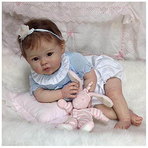 TDYH Reborn Baby Doll Soft Simulación Silicona Vinilo Cuerpo Completo 22 Pulgadas 55cm Realista Vivid Boy Girl Juguete para Mayores de 3 años Pink Sleeping Bear Eyes